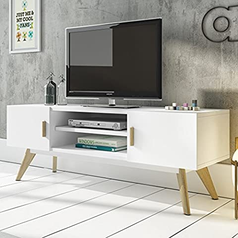 Mmilo® Scandinavian Retro MEET TV Table Bench TV stand side table with 2 cabinet and 2 level storage, contemporary design furnitrue, solid oak in Matt finish in