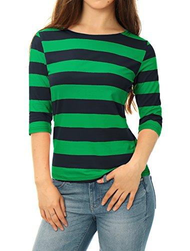 Allegra K Damen Boot Hals Ausschnitt Ellbogen Ärmel Schlank Fit Sitz Gestreiften T Shirt Dunkel Grün XL(EU 48) (Gestreiften Nautische Hemd)