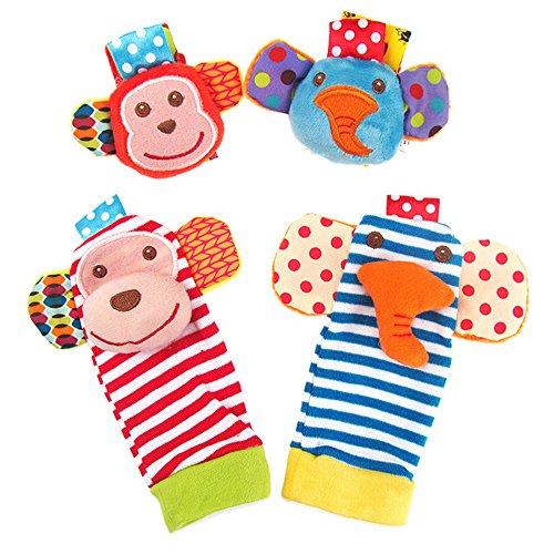 forepin Baby Spielzeug Rasseln Soft Handgelenk Rasseln und Socken Rasseln Cute Animal Rattles für Neugeborene Jungen Mädchen