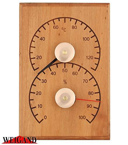 Weigand Klimamesser I Thermometer und Hygrometer Kombination aus wärmebehandelter ERLE I Messinstrument I Sauna I Zubehör I 319209