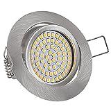 Lu-Mi® flache LED Einbaustrahler - Ultra Flach Einbaustrahler | 350 Lumen | 230V | 3,5W | Licht: Warmweiss 3200K | Gehäuse Rund (Edelstahl gebürsted Optik)