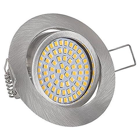 Lu-Mi® flache LED Einbaustrahler - Ultra Flach Einbaustrahler | 350 Lumen | 230V | 3,5W | Licht: Warmweiss 3200K | Gehäuse Rund (Edelstahl gebürsted