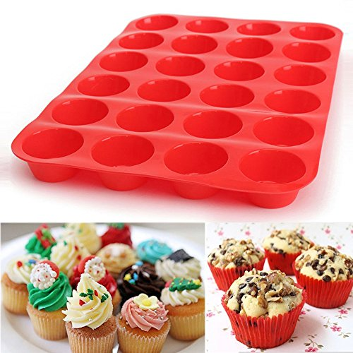 Yncc 24 Cavity Mini Muffin Silicone Soap Cookies Cupcake Bakeware Pan Tray Mould 100% Reinem Lebensmittel SilikonTemperaturbeständigkeit Waschbar, Wiederverwendbar Mini-muffin-pan-cookies