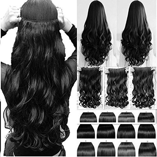 BigWave 5 Clips Based 24 inch Curly Wavy Synthetic Fibre Hair Extension Black