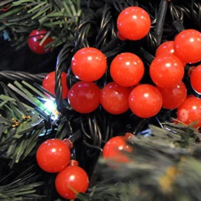 JnDee™ Waterproof Holly Berry Ball Fairy Lights 10M 100 LED RED Colour with 8 Light Effects Functions, for Both Indoor and Outdoor Christmas Tree Wedding Parties Decoration, SAFE Voltage