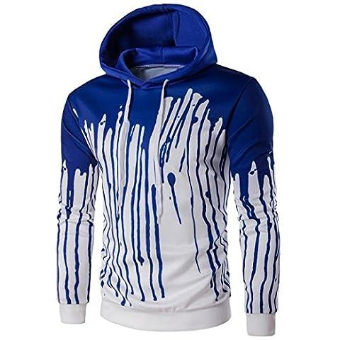 Tonsee Hommes manches longues imprimé Hoodie Sweatshirt veste manteau Outwear (Aise XL, Bleu)