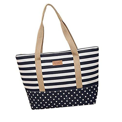 Große Beach Tote Bag (Casa Damen Canvas große Tote Schultertasche Streifen und Punkte Strandtasche Shopper Badetasche Handtaschen Beach Bag)