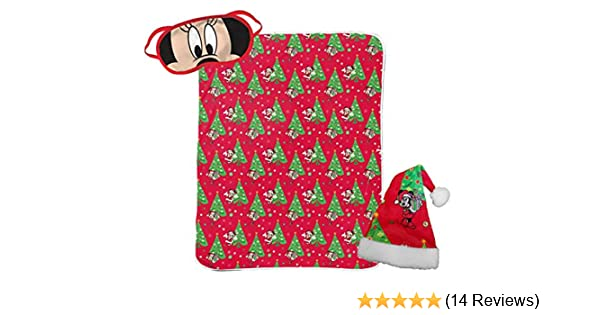 Jay Franco Disney Minnie Mouse 3 Piece Holiday Set Super Soft Sherpa Throw Blanket /& Eye Mask Bonus Santa Hat Official Disney Product Kids Christmas Bedding