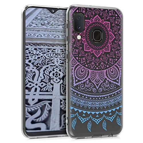 kwmobile Samsung Galaxy A20e Hülle - Handyhülle für Samsung Galaxy A20e - Handy Case in Blau Pink Transparent
