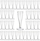 Gastro-Bedarf-Gutheil 60 Einweg Sektgläser, glasklar mit Eichstrich 0,1l Champagnergläser/Sektkelche / Sektglas mit Steckfuß 2-teilig.