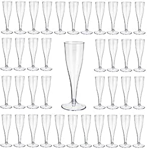 glasklar mit Eichstrich 0,1l Champagnergl/äser Sektkelche Sektglas mit Steckfu/ß 2-teilig Gastro-Bedarf-Gutheil 40 Einweg Sektgl/äser
