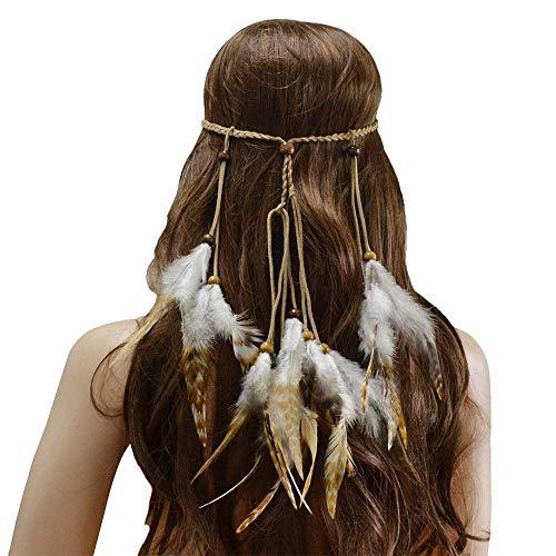 Hut Blume Mesh Bänder indische Hippie Boho Feder Stirnband Kopfschmuck Fascianator für Frauen Mädchen Headwear für Mädchen und Frauen