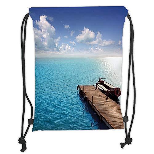 OQUYCZ Drawstring Sack Backpacks Bags,Summer,Wooden Deck on Charm Lake Holiday Europe Coast Tranquil Sea View,Violet Blue Turquoise Redwood Soft Satin,5 Liter Capacity,Adjustable String Closur - Redwood-deck