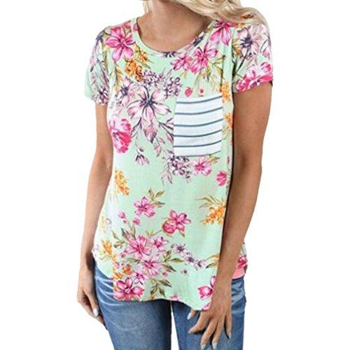 Honghu Damen Simple Hals Crew Neck Kurzarm Blumen T-shirt Hellgrün