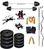 #3: BodyGrip 20 KG Home Gym Set 2kg x 4 + 3kg x 4 Weight Plates + 2 rod 14 inch + 1 rod 3ft straight + 1 rod 3ft curl + gym gloves + Skkipping rope + hand gripper