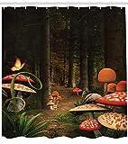Abakuhaus Duschvorhang, Schmetterlinge und Giftige Pilze Schwarzwald Illustration Grünen Dunkle Fantastische Welt, Blickdicht aus Stoff mit 12 Ringen Waschbar Langhaltig Hochwertig, 175 X 200 cm