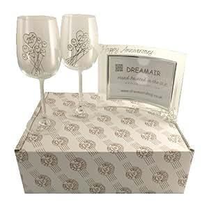 25° Anniversario Di Nozze D'argento Bicchieri Da Vino e Cornice Per Foto Da Regalo Set