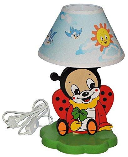 hochwertige Tischlampe aus Holz - Marienkäfer - 37 cm hoch - Kinderzimmer Tischleuchte - Lampe Tiere - Nachttischlampe für Kinder Stehlampe / Tischleuchte Tier Käfer - Mädchen Jungen - Kinderzimmerlampe