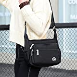 Casual Crossbody Handbags Shoulder Bags for Women Waterproof Nylon Messenger Bags (Black)