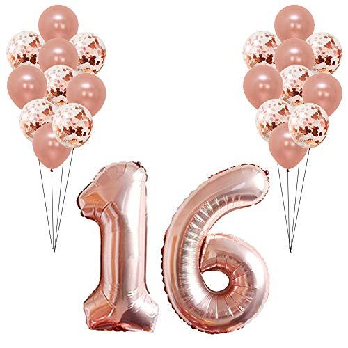 rationen Rose Gold Dekorationen zum Geburtstag Jubiläum 40 Zoll Anzahl Folienballon und 12 Zoll Konfetti Latex Ballons für Mädchen und Frauen ()