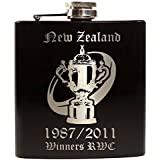 E-Volve Petaca Hip Flask - 6oz - acero inoxidable - Negro - RWC Rugby World Cup Champions New Zealand (All Black) 1987 2011