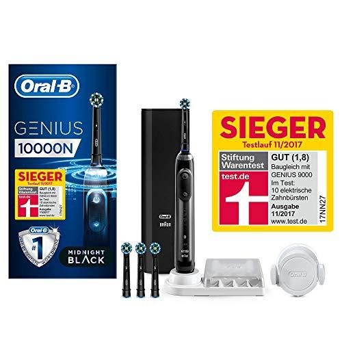 Oral-B Genius 10000N Black Edition Elektrische Zahnbürste, mit Zahnfleischschutz-Assistent, 4 Aufsteckbürsten und Premium Lade-Reise-Etui, schwarz