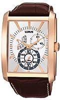 Lorus RP804AX9 - Reloj analógico de caballero de cuarzo con correa de piel marrón - sumergible a 50 metros de Lorus