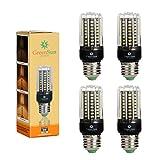 4×GreenSun LED E27 Fassung 6W Mais Birne Beleuchtung SMD2835 80LEDs Leuchtmittel Corn Light Dimmable(100%-50%-25%) Warmweiß Energiesparlampe für Wandlampen, Tischlampen, Deckenlampen 220V-240V
