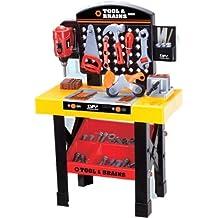 Banco de trabajo y set de herramientas de juguete - Más de 35 accesorios - Taladro y llave inglesa