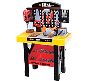 Childrens Toy Workbench and Tool Set, with working drill spanner etc, Over 35 pieces
