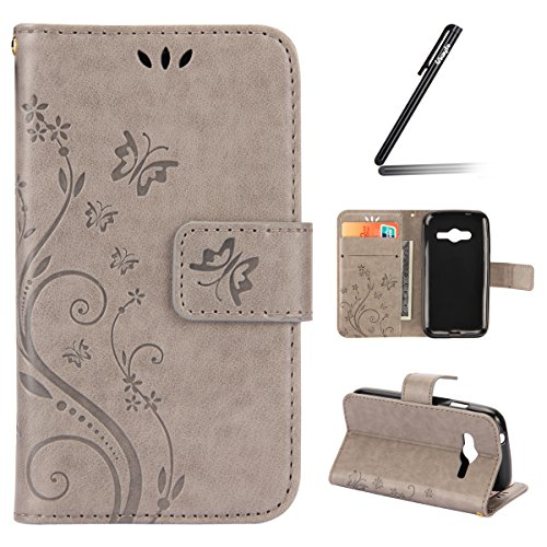 Ukayfe Custodia Portafoglio/Wallet/Libro in Pelle per Samsung Galaxy Trend 2 Lite (SM-G318) - Cover Elegante e di Alta qualità con Porta Carte di Credito e Cinghia Portatile Protezione-Grigio