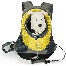 Goodid mochila bolsa bolso hombro para llevar mascotas gatos y perros a salir y viajar con abertura (Amarilo, 42*29*17cm)