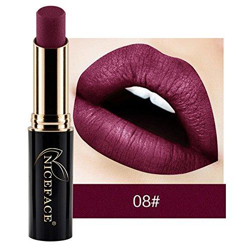 Rouge à lèvres,Lonshell Matte Gloss liquide à lèvres imperméable à l'eau 24 Couleurs (08#)