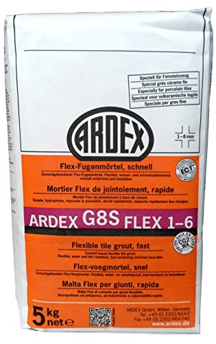"""ARDEX G8S Flex-Fugenmörtel 1-6mm 5kg, Farbe """"basalt"""" schnell erhärtend und belastbar"""