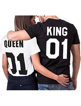 T-Shirt king queen maglietta Donna Uomini Coppia Regina per le coppie Tops Casuale Shirt ZIWATER
