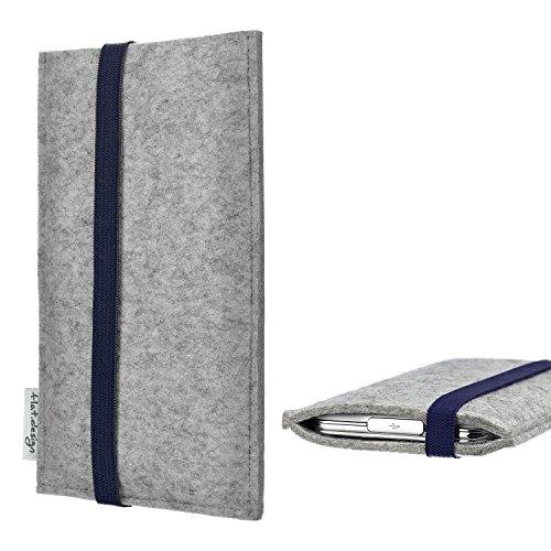 flat.design Handy Hülle Coimbra für Shift Shift6m - Schutz Case Tasche Filz Made in Germany hellgrau blau