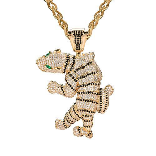 FIZZENN Hip Hop Tiger Tag Anhänger Unisex Iced Out Halskette mit 70cm Edelstahl Seil Kette Halskette Set Geschenke Schmuck,Silver