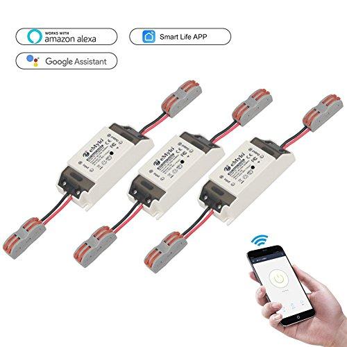 Smart Wifi Schalter Wireless Relais Fernbedienung eMylo Lichtschalter Modul Smart Home Automation Outlet Timer Kompatibel mit Alexa, Google Home über iPhone Android 3 Pack