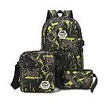 TTD Graffiti Rucksack, drei Set of School Bag Light-Weight Rucksack mit externem USB-Ladestation-Green