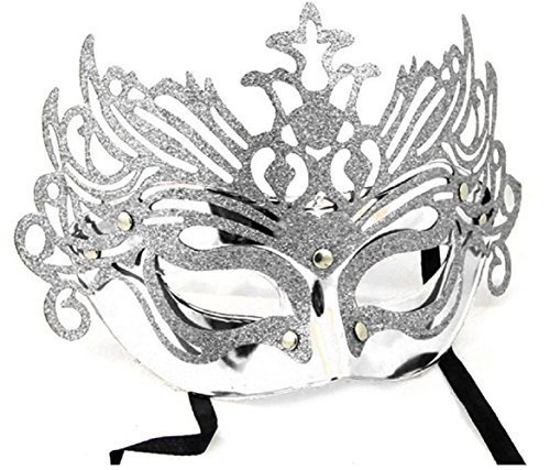 Inception pro infinite maschera per costume - travestimento - carnevale - halloween - teatro - nobile - veneziana - glitter - argento - adulti - donna - ragazza