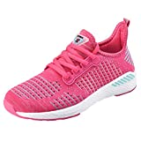 NEOKER Chaussures Homme Femme Baskets Running Shoes Sport Sneakers Fitness Respirant Légère Rose Rouge 39