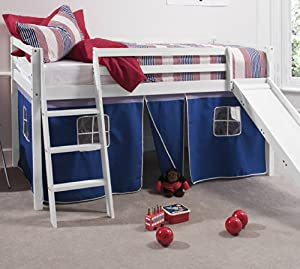 Noa and Nani - Midsleeper Cabin Bed with Slide and Blue Tent - (Whitewashed Pine)