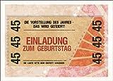 Im 5er Set: Party Einladungskarte zum 45. Geburtstag im coolen Ticket Look: Die Vorstellung des Jahres - Das wird gefeiert! Einladung zum Geburtstag