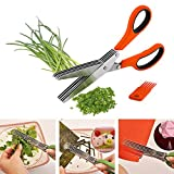 Wazdorf Shredding Scissors with Cleaning Comb/Multi-Function 5 Blade Vegetable Stainless Steel Herbs Scissor