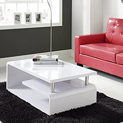QJ-057 - Tiffany White High Gloss Asymmetrical Coffee Table