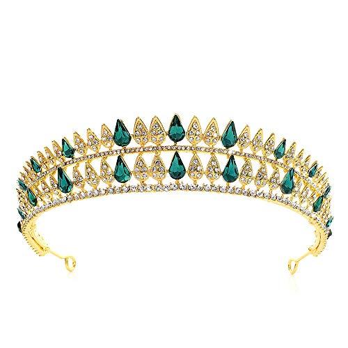 LERDBT Weiblicher Kopfschmuck Crystal Crown Hochzeit Prom Hair Headpieces Haarschmuck Crystal Crown Strass Braut Brautjungfer Crown Tiaras (Color : Green, Size : 16 * 3.5cm)