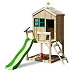 TP Toys Forest Cottage Wooden Playhouse and 6FT Wavy Slide With Sandpit Ages 3-8 Years