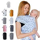 Fastique Kids Tragetuch - elastisches Babytragetuch für Früh- und Neugeborene inkl. Baby Wrap Carrier Anleitung - Nordlicht