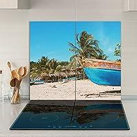 Cubiertas Tabla de cortar guardabarros 2x 30x 52| imagen sobre cristal, vidrio de seguridad Vidrio templado de cortar | Diseño: Playa