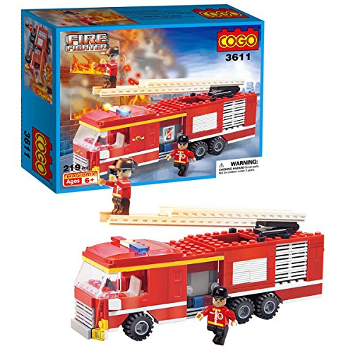 Cogo city 3611c - set di mattoncini giocattolo assemblabili per costruire un'autopompa dei vigili del fuoco, con scala e pompieri, compatibile con lego, 219 pezzi